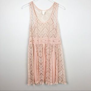 ANTHROPOLOGIE St. Regis Slip Dress S Lace Blush